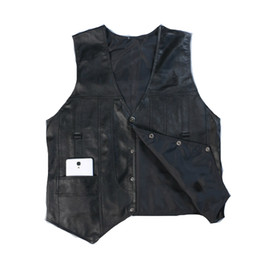 China Wholesale- High Quality Leather Vest Mens Clothing Real Sheepskin Waistcoat Winter Autumn Soft Black Mens Gilet Vintage Motorcycle Jacket supplier genuine down jacket suppliers