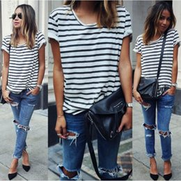 Blouse Blanche Rayures Noires Pas Cher-2016 New Summer Style O Neck Femme Chemises blanches à rayures noires Blusas Short Sleeve Femmes Tops Batwing Loose Blouses