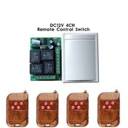 $enCountryForm.capitalKeyWord UK - Wholesale-433 Mhz Wireless Remote Control Switch DC 12V 4CH relay 1527 Learning code Receiver Module and 4pcs 433Mhz RF Remote Transmitter