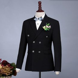 Double Breast Dresses NZ - Black and blue men suits jacket double breasted groom dress jacket tailor made wedding groomsman tuxedos jacket