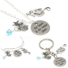 Sea Shell StarfiSh online shopping - 12pcs The beach is my happy place necklace sea animal Shell starfish and sea horse charm pendant necklace bangle keyring