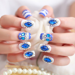 China Hot sale Wedding Nails 24Pcs White and Royal blue Long Square With Blue big drills Nail Art French Style Nail Art Tool suppliers
