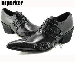 $enCountryForm.capitalKeyWord Canada - Japanese Fashion leather man's shoes elevator pointed toe shoe crocodile pattern wedding shoes formal dress shoes man's