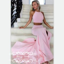 Robe De Soirée À Deux Pièces Sirène Pas Cher-Sexy Two Piece Backless Pink Mermaid Robes de bal 2017 Long Side Split Pleat Sweep Train Femme Crop Top Dress Party Evening Gown