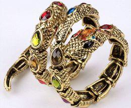 $enCountryForm.capitalKeyWord Canada - Stretch snake bracelet armlet upper arm cuff for women punk rock crystal bangle jewelry antique gold & silver dropshipping A32