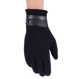 Wholesale Fashion Hot Men FitnessGloves Winter Exercise Warm Gloves Cashmere Full Lining PU Leather Male Driving Waterproof Gloves Mittens