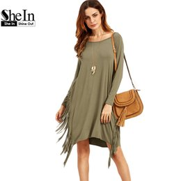 t shirt dress winter Australia - SheIn Women Plain Olive Green Long Sleeve Fringe Straight Dresses Ladies Autumn Scoop Neck Casual T-shirt Dress