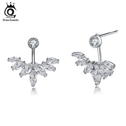 rhodium plated cz 2019 - Women Designer Luxury Earring Pure Sterling Silver High Quality Trendy Silver 925 Jewelry Earrings with CZ SE28 cheap rh