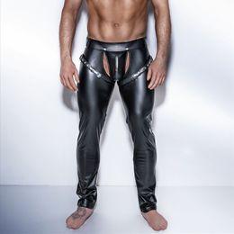 Erkek Seksi Gotik Tayt Erkekler için Lateks Wetlook Punk Pantolon DS Kulübü Kostüm Eşcinsel Fetiş Erotik Lingerie Disfraces Adultos