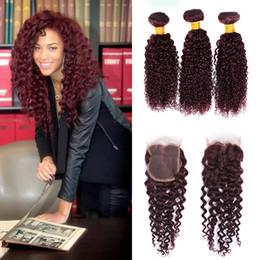 $enCountryForm.capitalKeyWord NZ - Kinky Curly With 4x4 Lace Closure 7a Brazilian Virgin Hair Extensions Brazilian Weave 3 Bundles Curly Wave Virgin Hair 99j Wave Human Hair