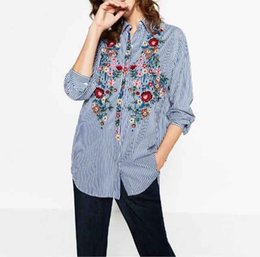 striped shirts for women 2018 - 2017 New Spring Autumn Women office Tops Striped blouse for business Women Blouse Flower Embroidery Long Sleeve Work Shi