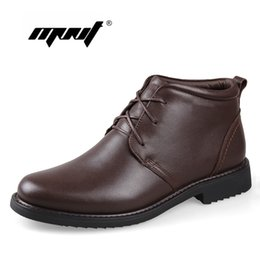 Chinese  Wholesale- Plus Size men boots super warm genuine natural leather snow boots Handmade ankle boots for autumn and winter shoes manufacturers