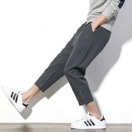 Mens capris wholesale online shopping - Japan Retro Summer Men Casual Pants Ankl Length Side Zipper Fashion Slim Fit Mens Pants Drawstring Comfortable Pant Male XL