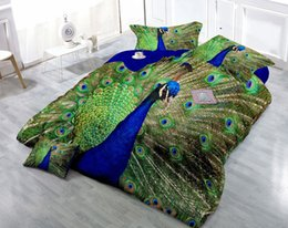 Peacock Bedding Full Canada - Custom Drawings Can be Customized 3D Vivid Peacock Digital Printing Cotton Satin 4-Piece Duvet Cover Sets Bedding Sets