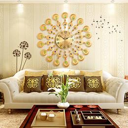 Modern Metal Wall Clock Crystal Gold Peacock Clocks Creative Sitting Room Mute Europe Type Auger