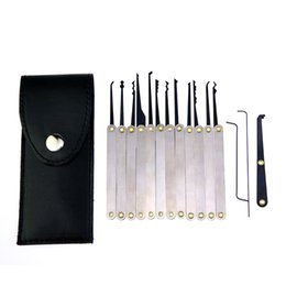 Chinese  Free Shipping 12pcs set Stainless Steel Lock Picks Handles w  Bag Removing Key Set Lockpick Locksmith Tools Lock Opener manufacturers