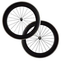 $enCountryForm.capitalKeyWord NZ - 700C 80mm Clincher carbon bike wheels with Alloy brake track Road Bike Wheelset 23mm Width Alloy Carbon Free Shipping