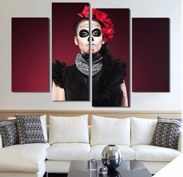 $enCountryForm.capitalKeyWord NZ - 4 Pcs Set Framed HD Printed Scare Death Face Picture Wall Art Canvas Print Decor Poster Canvas Modern Oil Painting