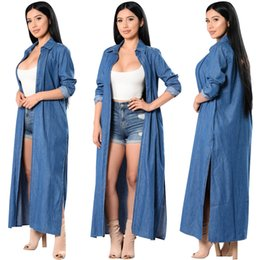 Barato Corta-feixes De Primavera-Maxi Long Denim Trench Coat Mulheres Long Sleeve Side Split Jeans Cardigan Spring Autumn Overalls Windbreakers