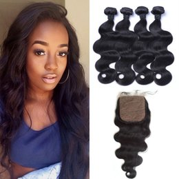 piano hair weave 2019 - Malaysian Virgin Hair With Closure 5pcs lot Natural Black 4x4 Body Wave Silk Base Closure With Bundles LaurieJ Hair chea
