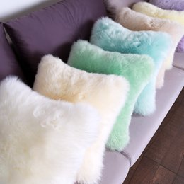WonderFur CN1031 Long Hair Genuine Sheepskin Cushion Square Real Sheep Fur Chair Mat In Living Room Bedroom Sofa Decorative Pillow