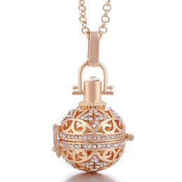 White Rose Essential Oil Wholesale NZ - 18k Rose Gold Bead Cages Pendant Necklaces Hollow Crystal Diffuser Locket Aromatherapy Essential Oil Necklace For Pregnant Women