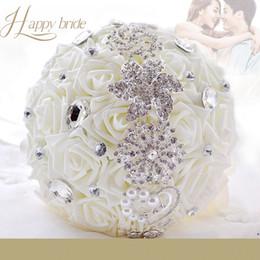 $enCountryForm.capitalKeyWord UK - White Wedding Bouquet Bridal Bouquet Brooch Artificial Rose Holding Flowers with Ribbon Rhinestone Wedding Party Decor