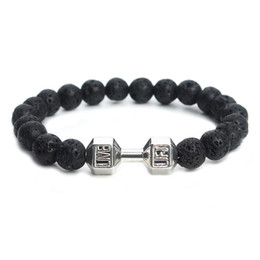 China 2016 Mens Bracelet Natural Stones Live Lift Dumbbell Bracelet Lava Turquoise Onyx beads Fitness Rockmen bracelet suppliers