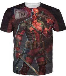 Chinese  2017 New Arrive American Comic Badass Deadpool T-Shirt Tees Men Women Cartoon Characters 3d t shirt Funny Casual tee shirts tops manufacturers