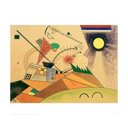 Discount kandinsky landscape paintings - Modern abstract art Wassily Kandinsky oil paintings Canvas Sketch for Moving Silence hand-painted wall decor