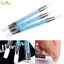 Barato Gel Acrílico Líquido Unha-Atacado - 3Pcs Nail Art Brush 2 Caminhos Escultura Pen Rhinestone Acrílico Silicone Carving Powder Gel Liquid Liner Nail Brush Dotting Tools
