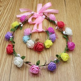 $enCountryForm.capitalKeyWord Canada - Women and Children Hair Accessories Wedding Decorative Wreaths+Wristband Set PE Flowers With Paper Headbands Hairband For Bride Beach Wear