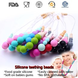 Silicone Baby Food Canada - High Quality BPA Free Food Grade DIY Silicone Baby Chew Beads Teething Necklace Wholesale Nursing Jewelry Teether for Mom Mommy to Wear