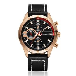 Round Clock Men Canada - Curren Brand Men Leather Casual Watch Quartz Date Clock Man Sport Watches Men's Wristwatch Relojes Hombre Wholesale 8216