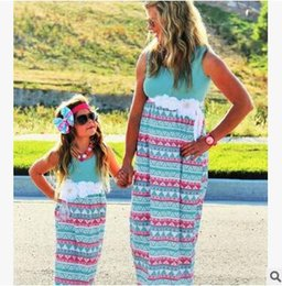 Outfits For Mothers Daughters Canada - Hot Family Matching Outfits For Mother And Daughter Dress Bohemian Beach Dress Summer Patchwork Sleeveless Ankle-length Dresses
