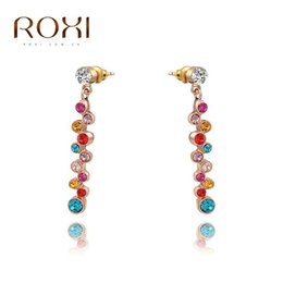 $enCountryForm.capitalKeyWord Canada - ROXI Free Shipping Delicate Zircon Statement Earrings Gift Girlfriend Handmade Fashion Rose Gold Plated Colorful Jacket Earrings