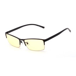 ThinnesT eyeglass lenses online shopping - Yellow And Clear Lenses Computer Glasses Male Female Antifatigue Anti Blue Ray Eyewear Rimless Thin Frame Eyeglasses Men Women