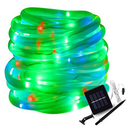 Solar powered tube lightS online shopping - Warm white red yellow RGB Solar LED String Lights Outdoor Rope Tube Led String Solar Powered Fairy Lights for Garden Fence Landscape
