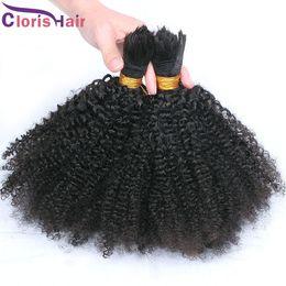 Bulks Hair For Cheap Canada - Brazilian Afro Kinky Curly Braiding Hair No Weft Cheap Unprocessed Kinky Curly Human Hair Extension in Bulk 3 Bundles Deals For Micro Braids