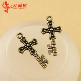 $enCountryForm.capitalKeyWord NZ - 25*12MM Antique Bronze cross key charm for bracelet, vintage metal dangle crucifix pendant for necklace, diy tibetan jewelry making findings