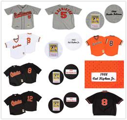 e40b760be Baltimore Orioles Baseball Jersey 5 Brooks Robinson 8 Cal Ripken 12 Roberto  Alomar Mitchell and Ness 1975 Orioles 5 Brooks Robinson Orange Throwback ...