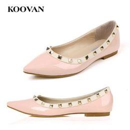 $enCountryForm.capitalKeyWord Canada - V Designer Koovan Fashion Women Shoes 2017 Summer Rivet Flat Bottom Big Brand Ladies Shoes Shallow Mouth Pointed Toes Six Color R13