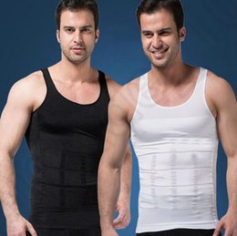 Barato Roupa Interior Da Barriga Dos Homens-Homens Body Shaper Men Slimming Shirt Tummy Waist Vest Lose Weight Underwear Tummy Belly Shapewear Slim Compression Muscle Tank OOA1204