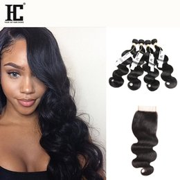 remy human hair bundles Canada - 8A Brazilian Virgin Hair with closure Extensions 4 Bundles Brazilian Body Wave With 4x4 Lace Closure Unprocessed Remy Human Hair Weave