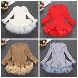 wholesale ruffled sweater Canada - Party Dress Kids Girl Stripe Ruffle Dresses 2-7Year Princess Baby Girls Knit Sweater Dress Costume Autumn Children Clothes