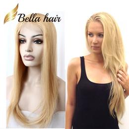 Блондин цвет # 613 парики 10-24 дюйма бразильские натуральные шелковистые прямые реми человеческие волосы человеческие волосы белкости полные передние кружева Bellahair завод на Распродаже