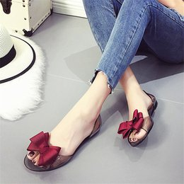 2017 Summer Crystal Jelly Shoes Female Sweet Open Toe Flat Heel Casual  Beach Sandals Flats Women Shoes With Bow 454986e58a73