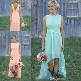 High Low Western Wedding Dresses Canada - 2016 Modest Short Bridesmaid Dresses Lace Crew Neck Chiffon High Low Western Country Wedding Party Gowns Summer Cheap Plus Size Formal Wear