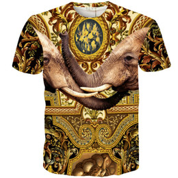 Chinese  Elephant T shirt India palace short sleeve gown Cool design tees Street printing clothing Unisex cotton Tshirt manufacturers