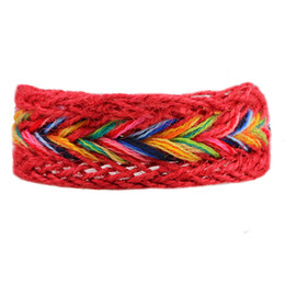 Wholesale Retro Colorful Handmade Woven Bracelets For Women Ladies Bohemia Embroidery Friendship Bracelets National DIY Hemp Ropes